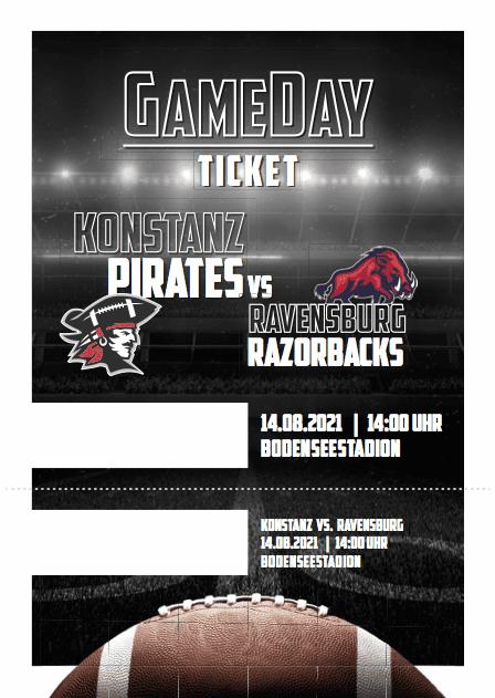 Konstanz Pirates - American Football - GameDay Ticket Ravensburg Razorbacks