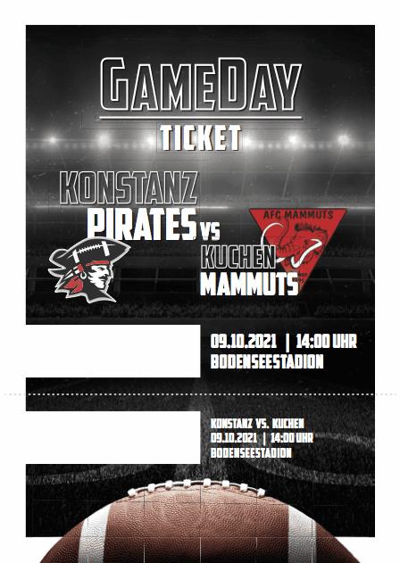 Konstanz Pirates - American Football - GameDay Ticket Kuchen Mammuts